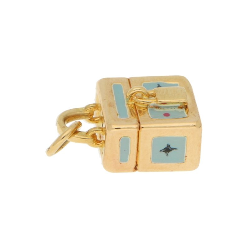 Vintage Blue Enamel Handbag Charm in Yellow Gold