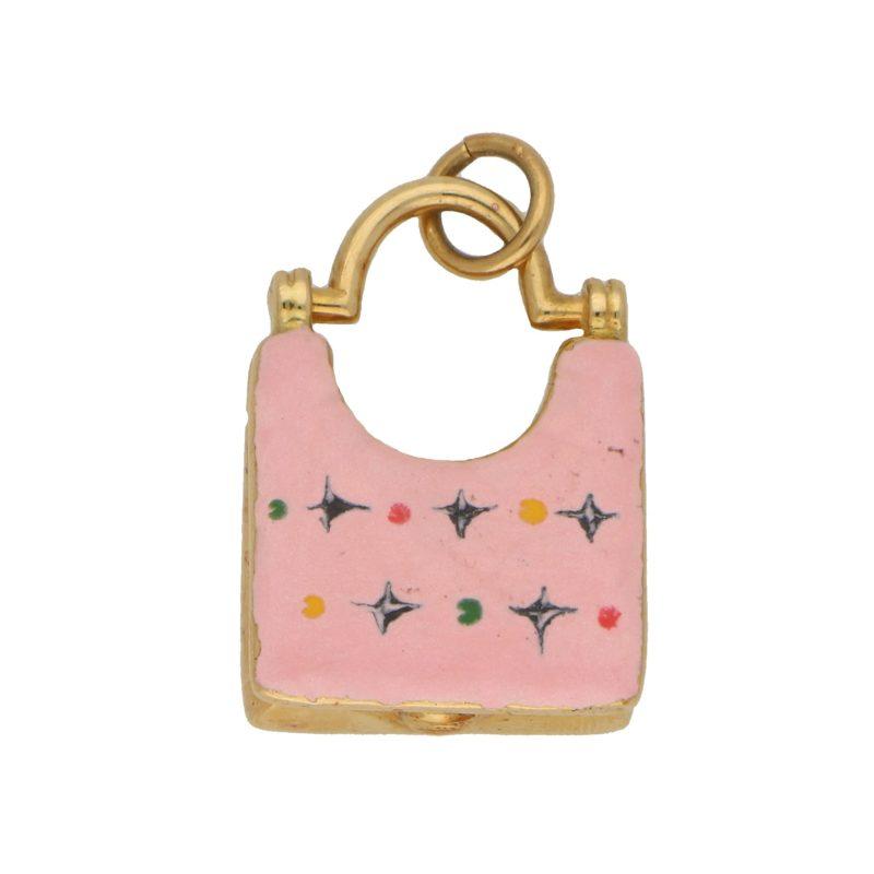 Vintage Pink Enamel Handbag Charm in Yellow Gold