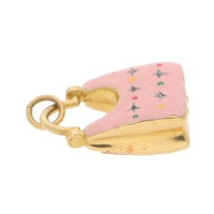 Vintage Pink Enamel Handbag Charm in Yellow Gold