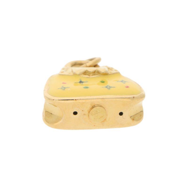 Vintage Yellow Enamel Handbag Charm in Yellow Gold