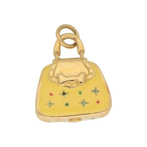 Vintage Yellow Enamel Handbag Charm in Yellow Gold