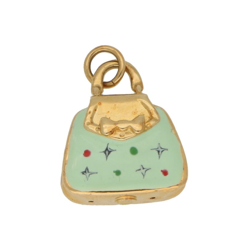 Vintage Green Enamel Handbag Charm in Yellow Gold
