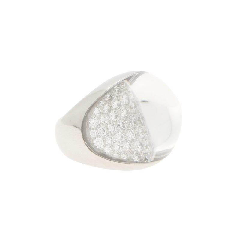 Vintage Myst De Cartier Diamond and Rock Crystal Dress Ring