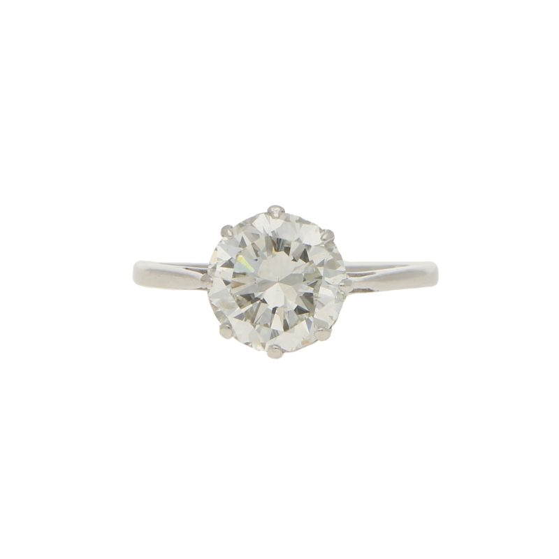 Certified Art Deco 2.59ct Transitional Cut Ring