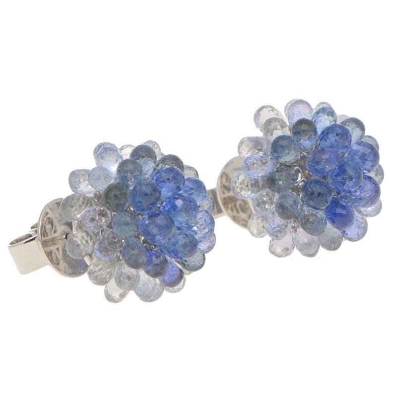 Hydrangea Briolette Floral Sapphire Cluster Earrings