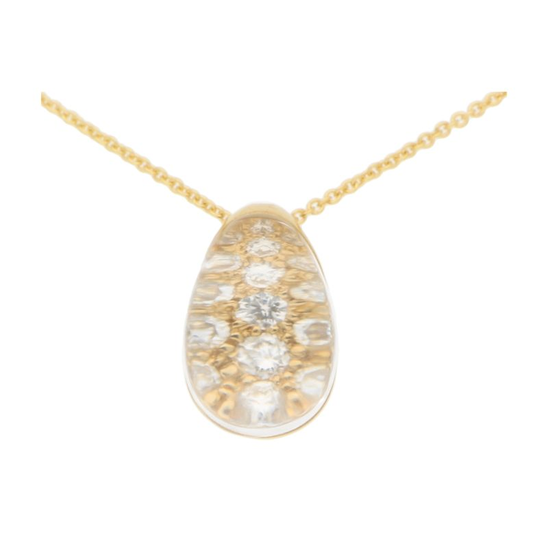 Vintage Myst De Cartier Diamond and Rock Crystal Pendant