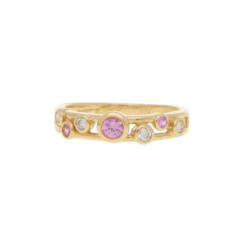Pink Sapphire and Diamond Retro Bubble Ring
