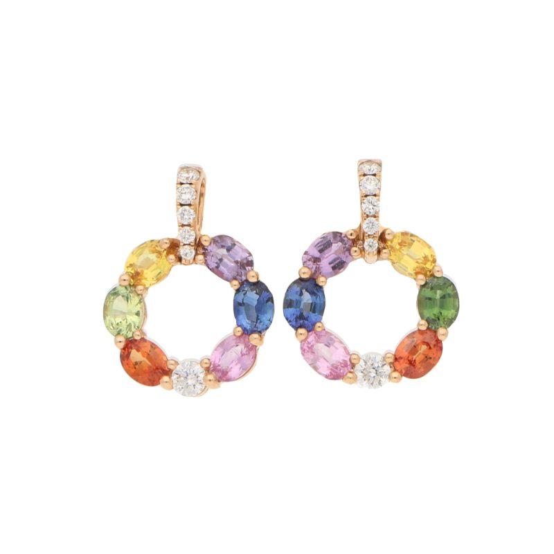 Rainbow Sapphire and Diamond Hoop Earrings