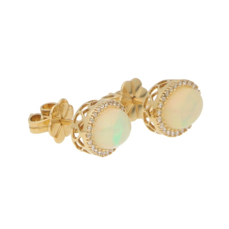 Opal and Diamond Cluster Halo Stud Earrings