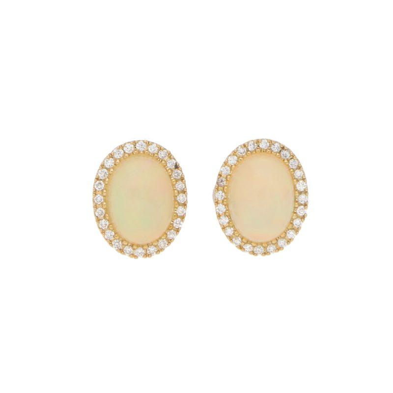 Opal and Diamond Cluster Halo Stud Earrings