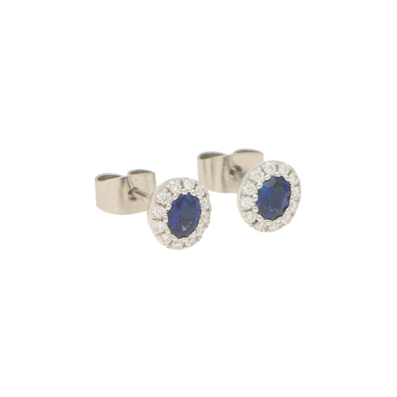 Sapphire and Diamond Cluster Halo Stud Earrings