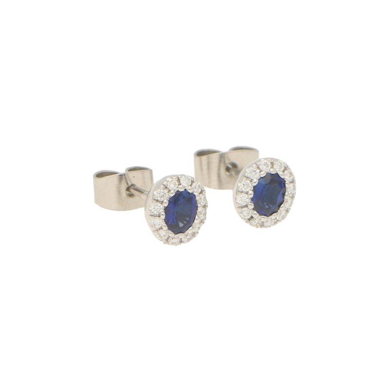 Sapphire and Diamond Cluster Halo Stud Earrings