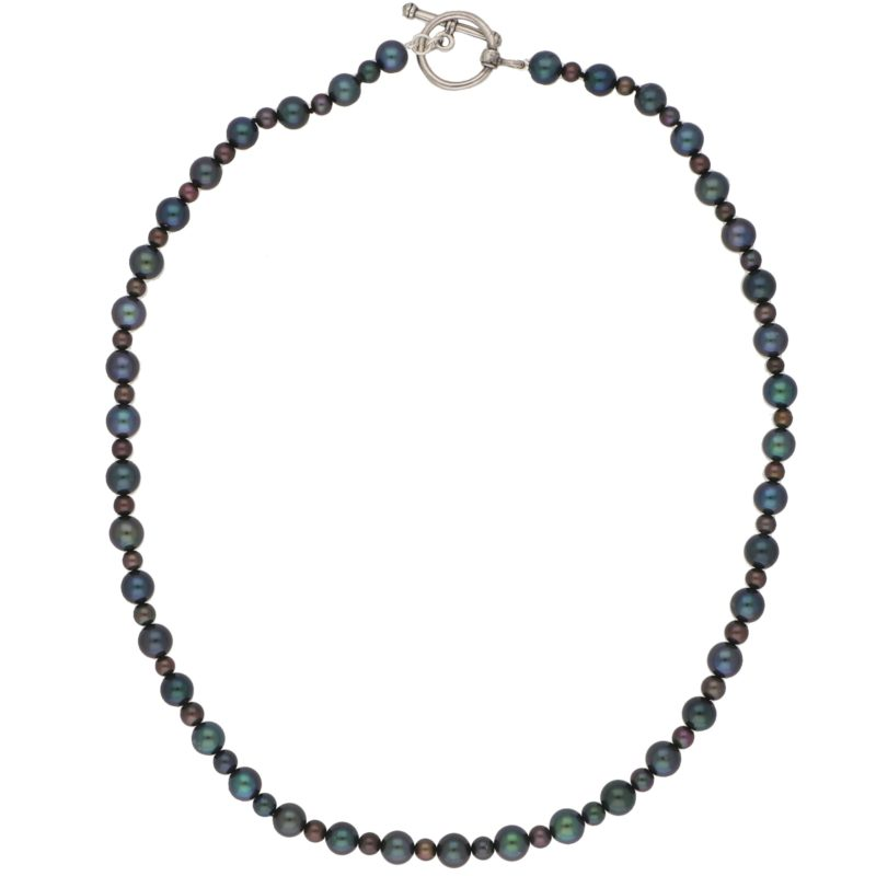 Black Pearl Sterling Silver Strand