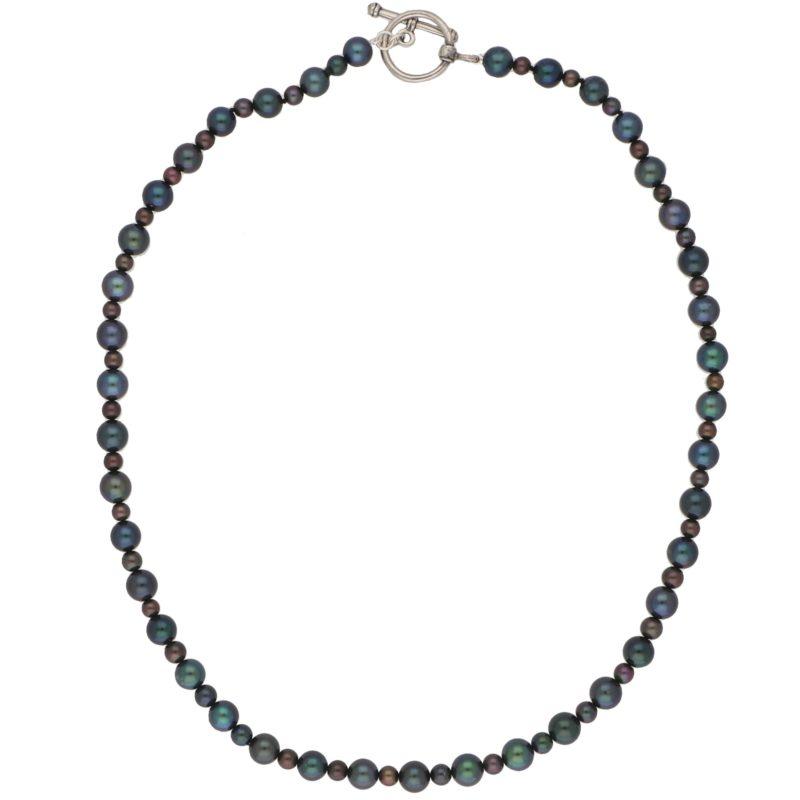 Black Pearl Sterling Silver Strand