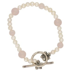 Pearl and Rose Quartz Silver Bracelet