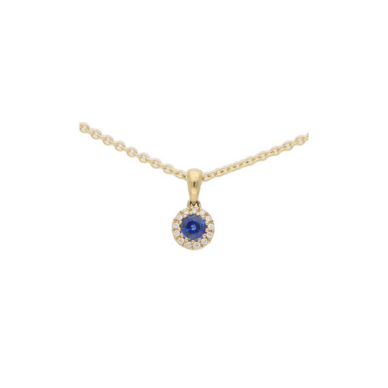 Sapphire and Diamond Cluster Pendant