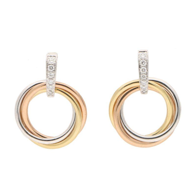 Diamond Trinity Drop Earrings