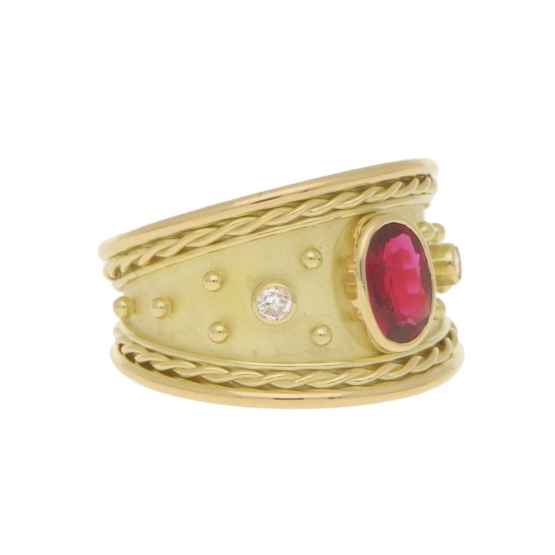 Ruby and Diamond Etruscan Revival Dress Ring