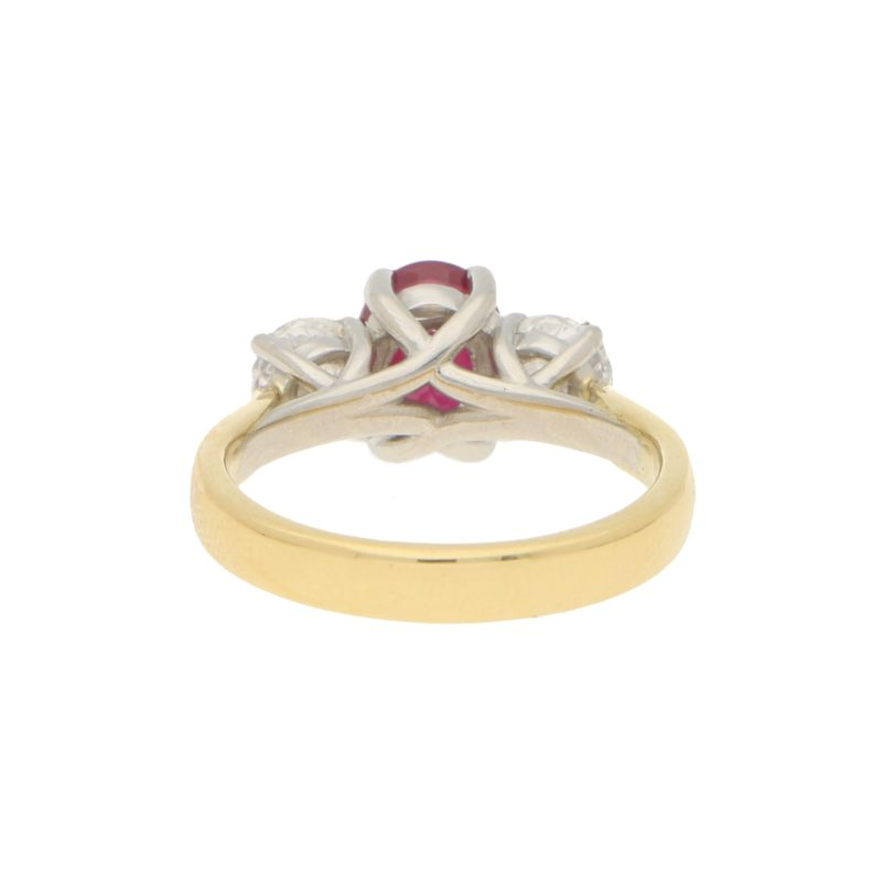 Certified Ruby and Diamond Trilogy Ring