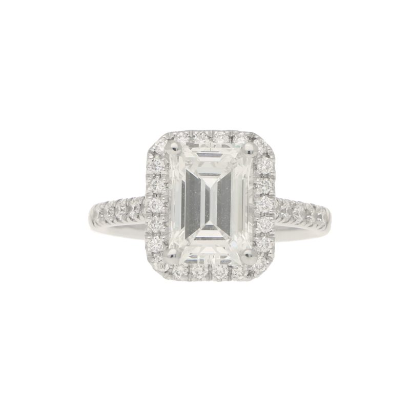 GIA Certified 2.45ct Emerald Cut Halo Cluster Ring