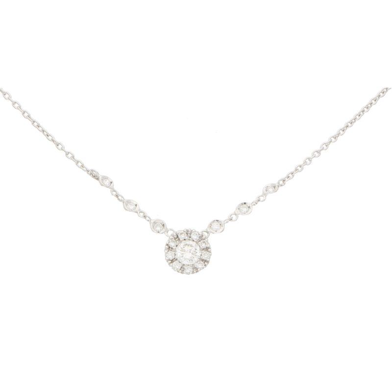 Diamond Halo Cluster Pendant in White Gold