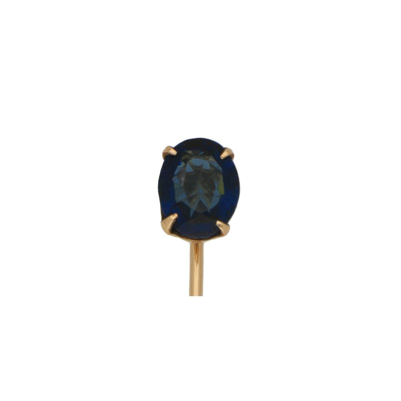 Art Deco Blue Stoned Stick Pin in 9k Gold