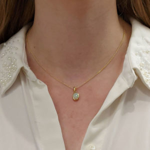 Opal Pendant Necklace Set in Yellow Gold