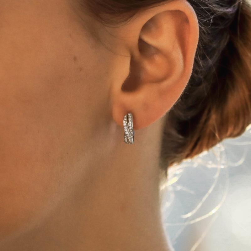 Diamond Trinity Huggy Hoop Earrings