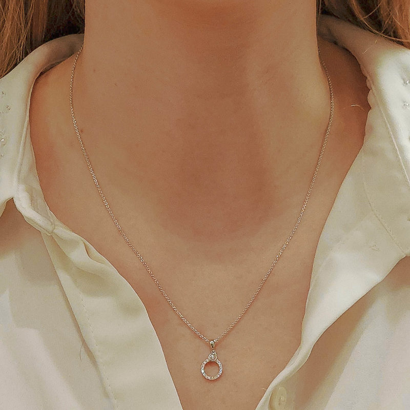 Diamond Circle Promise Ring Necklace