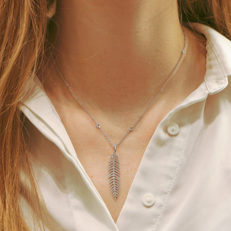 Articulated Diamond Feather Necklace in White Gold
