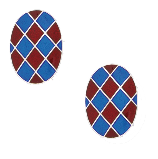 A vibrant pair of harlequin cufflinks in sterling silver