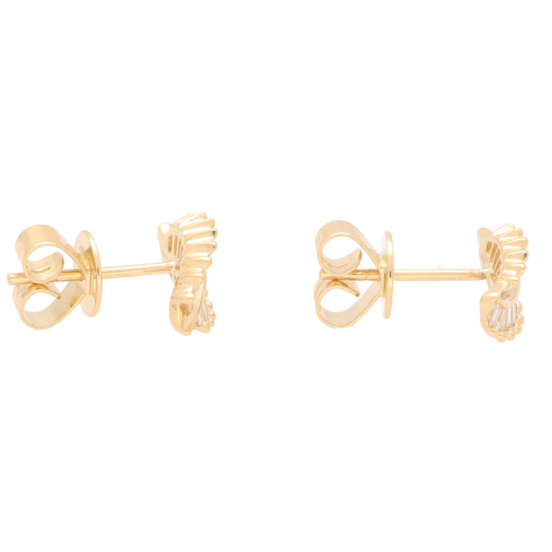 Baguette Cut Diamond Leaf Studs in Yellow Gold