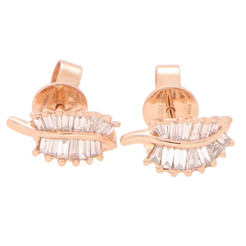 Baguette Cut Diamond Leaf Studs in Rose Gold