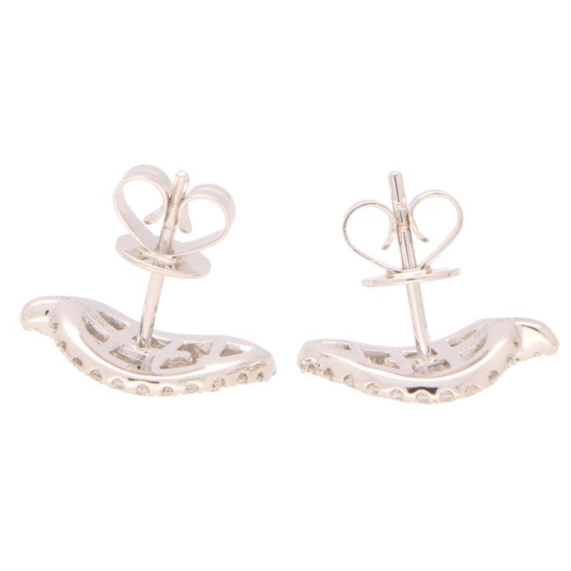 Diamond Leaf Stud Earrings in White Gold
