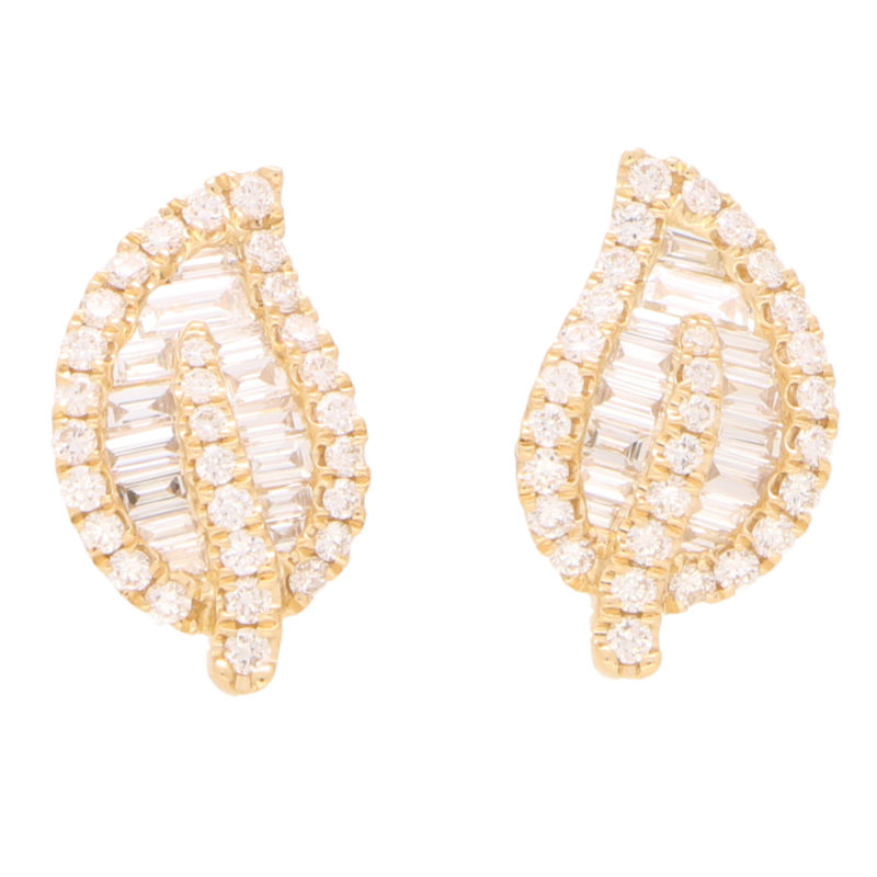 Diamond Leaf Stud Earrings in Yellow Gold