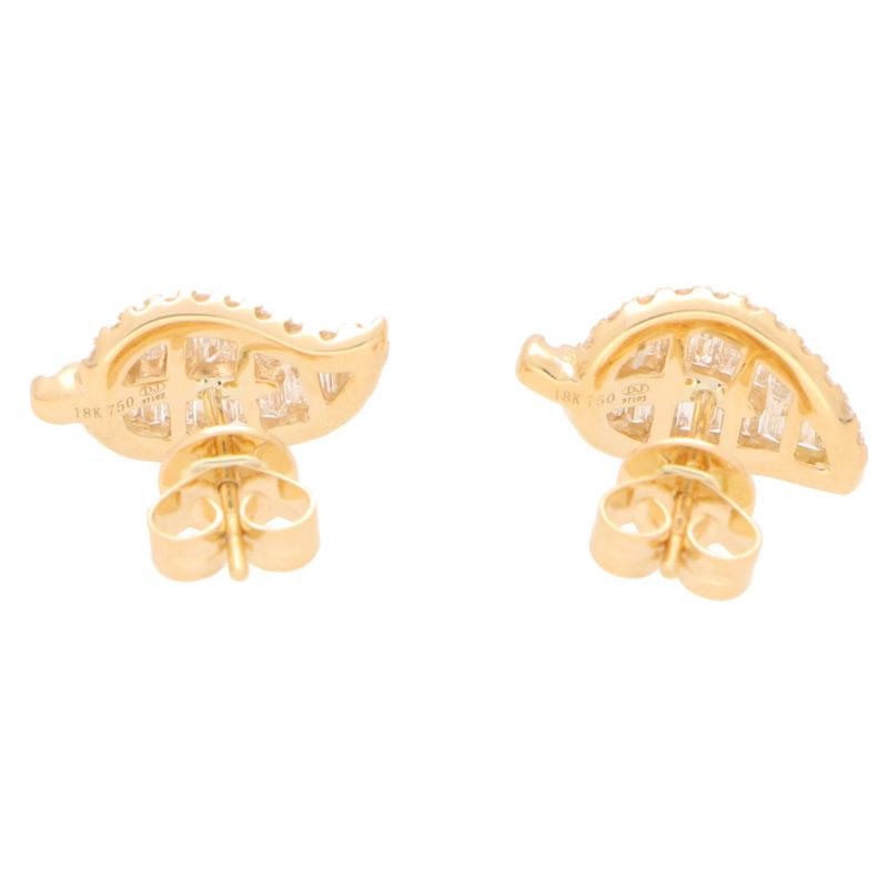 Diamond Leaf Stud Earrings in Yellow Gold