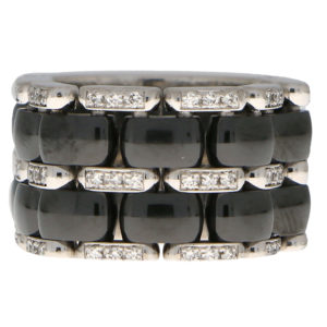 CHANEL Large Diamond and Ceramic Flexible Ultra Ring