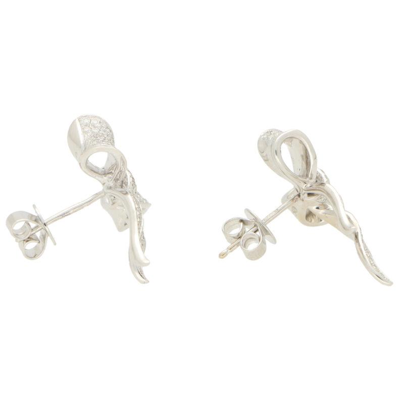 Diamond Bow Stud Earrings