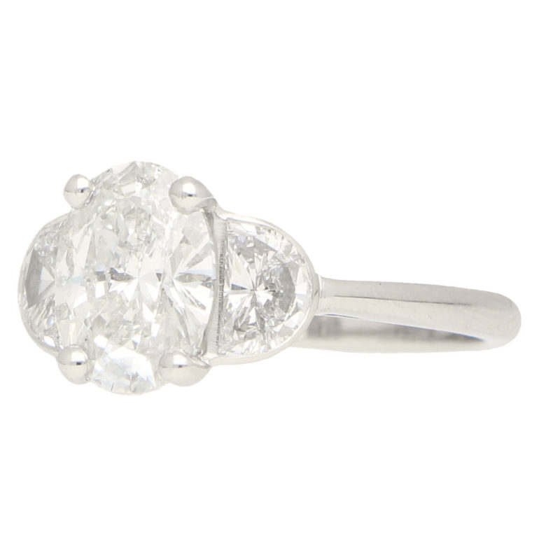 Oval and Moon Cut Diamond Trilogy Ring