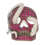 Theo Fennell Ruby and Diamond Skull and Snake Ring