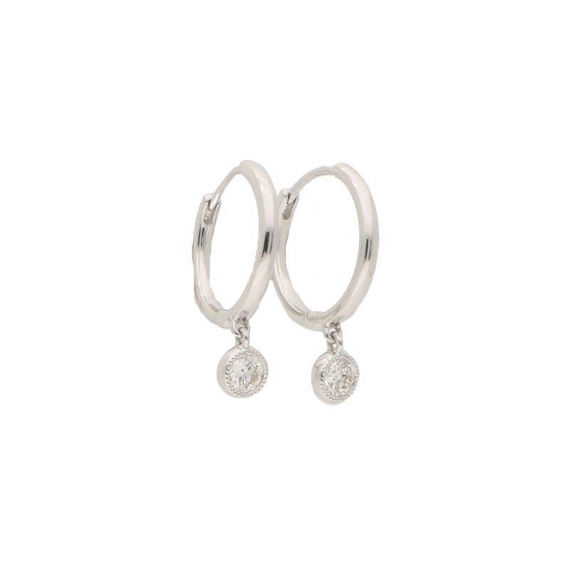Diamond Drop Hoop Earrings in White Gold