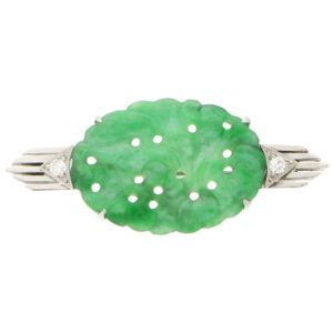 Art Deco Jade and Diamond Brooch Pin