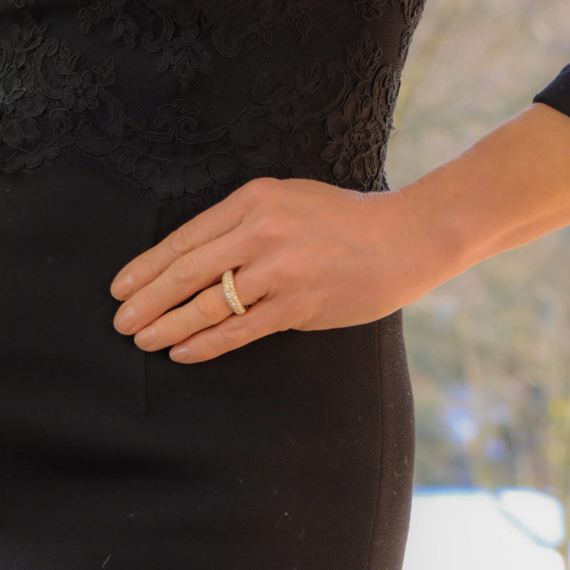 Vintage Cartier Oval Diamond Mimi Bombé Ring Size 54