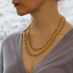 Vintage 32'' Oval Link Chain Necklace