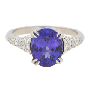 3.61ct Purple Blue Tanzanite and Diamond Ring