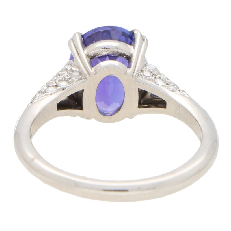 3.61ct Purple Blue Tanzanite and Diamond Ring
