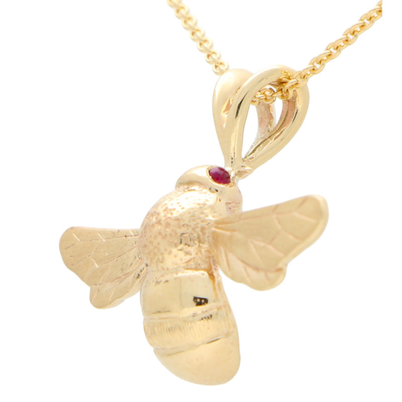 Cabochon Ruby Eyed Bumble Bee Pendant Necklace