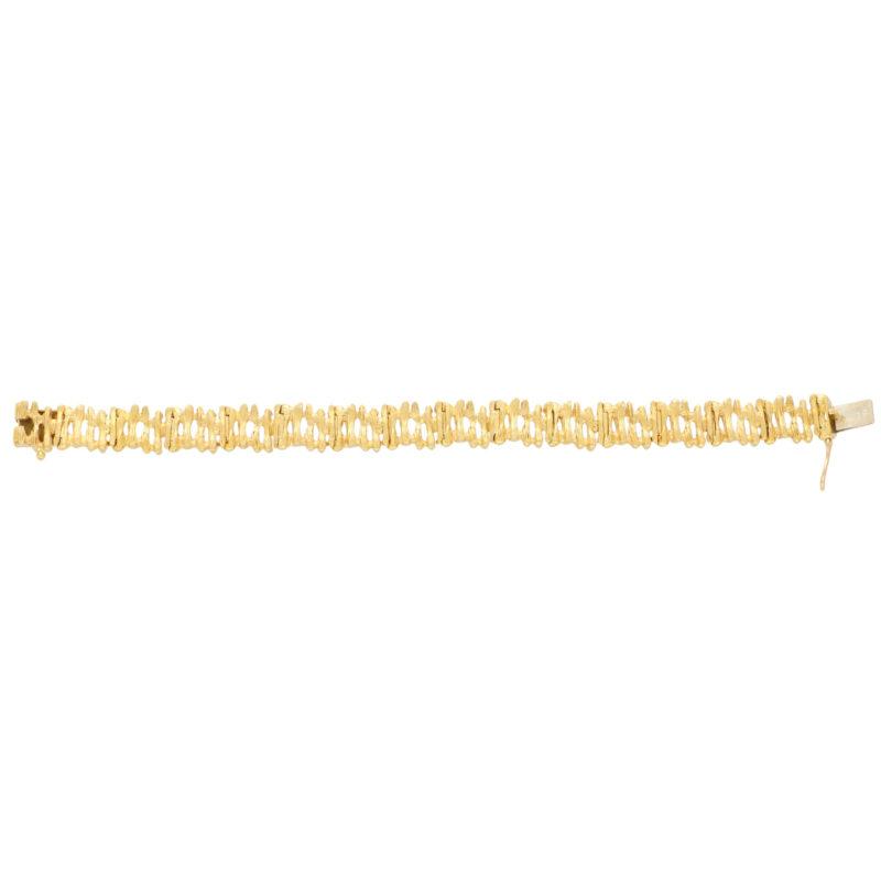 Vintage yellow gold bark link bracelet