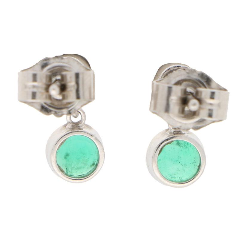 Diamond and Emerald Drop Stud Earrings