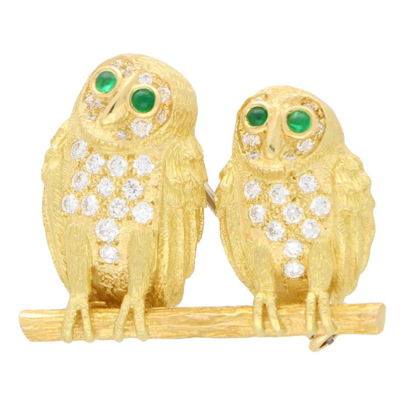 Diamond and Emerald Eye Owl Brooch